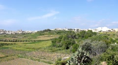 Panorama View Of Mgarr City With Green Field. Gozo, Malta Stock Footage