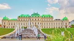 VIENNA, AUSTRIA-SEPTEMBER 10, 2015:Upper Belvedere. Main palace complex Belve Stock Footage