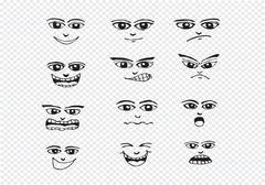Cartoon faces Set hand drawing illustration - stock illustration