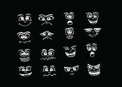 Stock Illustration of Cartoon faces Set hand drawing illustration
