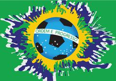 illustration Abstract background football , soccer form watercolor in brazil  - stock illustration