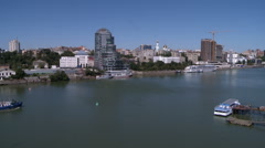 View of river and architecture in city center Stock Footage