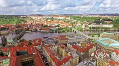 Area Lesser Town of Prague (Mala Strana), Charles Bridge, Prague Castle and V Stock Footage