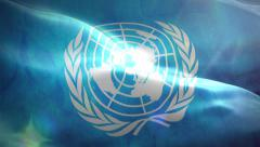 Stock Video Footage of Animated 3D flag of United Nations Organization
