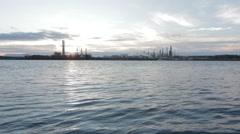 Sunrise Over Suncor Oil Refinery Stock Footage