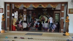 People go to Wat Amphawan for praying with Venerable Jarun Monk Stock Footage