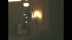 Stock Video Footage of Vintage 16mm film, 1948, Canada, interior hallway of Banff Springs hotel (rare)