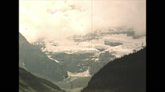 Stock Video Footage of Vintage 16mm film, 1948, Canada, Chateau Lake Louise grounds, looking...