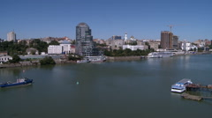 View of navigable river in city at sunny weather Stock Footage