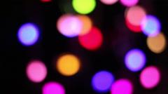 Illumination garland decoration blinking on heart shaped bokeh background Stock Footage