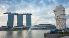 Singapore skyline at sunrise Stock Footage