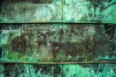 Oxidized Green Copper Plate Texture as Background - stock photo