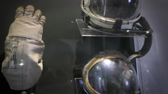 Overview of the evolution of helmets and gloves for space - stock footage