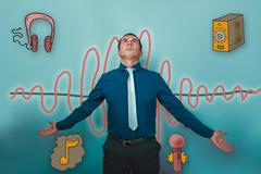A man businessman opened his arms and looks up the sound wave mu Stock Photos