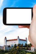 Tourist photographs of Bratislava Hrad castle Stock Photos
