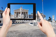 Snapshot of Austrian Parliament Building in Vienna Stock Photos