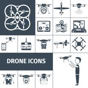 Drone Icons Black Stock Illustration