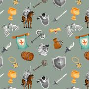 Knight Seamless Pattern - stock illustration