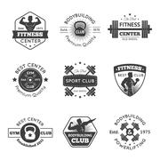 Fitness Gym Emblems Set Stock Illustration