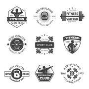 Stock Illustration of Fitness Gym Emblems Set