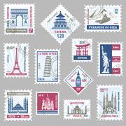 Postage Stamps Set Stock Illustration