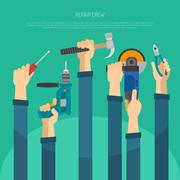 Stock Illustration of Hands With Tools