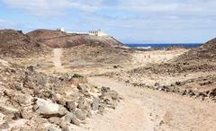 Punta Martino Lighthouse on the small island of Lobo - stock photo