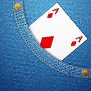 Denim pocket and diamond ace Stock Illustration