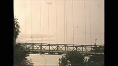 Vintage 16mm film, 1948, Canada, Lionsgate bridge, profile Stock Footage