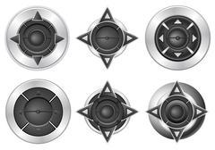 multimedia button set - stock illustration