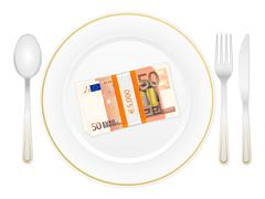 Plate cutlery and fifty euro pack Stock Illustration