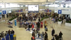 Paris Orly airport, passengers at departure Stock Footage