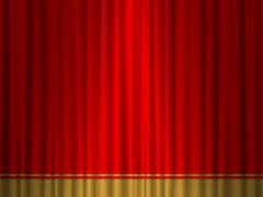 theatre red gold curtain - stock illustration