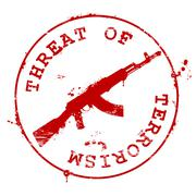 Stamp with AK-47 and bloody blots - threat of terrorism Stock Illustration