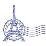 Grunge round stamp with Eiffel Tower - landmark of Paris - stock illustration