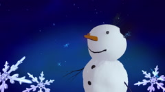 Snowmen and Christmas Snowflakes Stock Footage