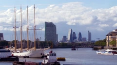 Historic sailing boat on the river Thames Stock Footage
