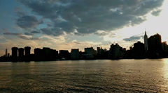 Panoramic view of beautiful scenery in Central Park at sunset Stock Footage
