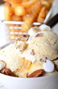 Butter Pecan Ice Cream with French Fries Stock Photos
