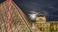 Paris, timelapse of the pyramid at the Louvre Stock Footage