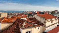 Aerial view of red roofs in Lisbon, Portugal - stock photo