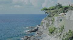 Bogliasco Coastline Riviera di Levante Italy - 29,97FPS NTSC Stock Footage