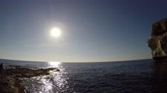 Gozo Azure Window Height, Malta Islands Stock Footage