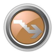 Icon, Button, Pictogram Downstairs - stock illustration
