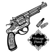 Stock Illustration of Hand Drawn Retro Pistols