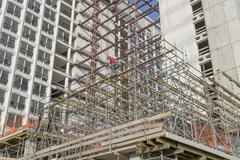 Scaffolding at the renovation of the former VROM Ministry building. Stock Photos