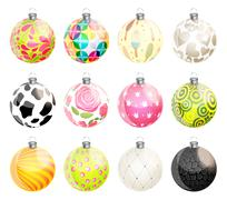 Stock Illustration of New Year and Christmas Balls Set Vector Illustration