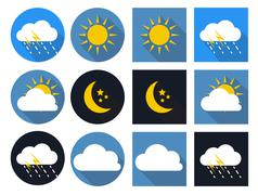 Weather Icons with Sun, Cloud, Rain and Moon in Flat Style with Stock Illustration