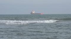 Merchant fleet (ships) on the roads Stock Footage