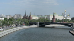A view of the Kremlin, the Great Stone Bridge and the Moscow River. Stock Footage